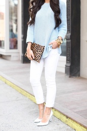 sweater,bag,jeans,shoes,blouse,cheetah high heels,light blue sweater,white pants