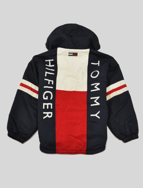 jacket vintage 90s style aaliyah navy red white tommy hilfiger. Black Bedroom Furniture Sets. Home Design Ideas