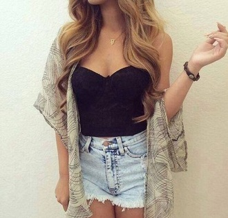 top bustier black kimono denim shorts