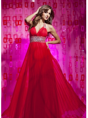 Buy Hot Red Empire Waist Halter Beaded Pleated Chiffon Homecoming Dress under 200-SinoAnt.com