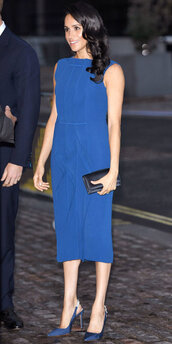 dress,meghan markle,midi dress,monochrome,blue,celebrity