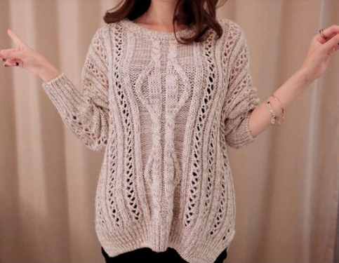 Khaki long sleeve hollow knit sweater