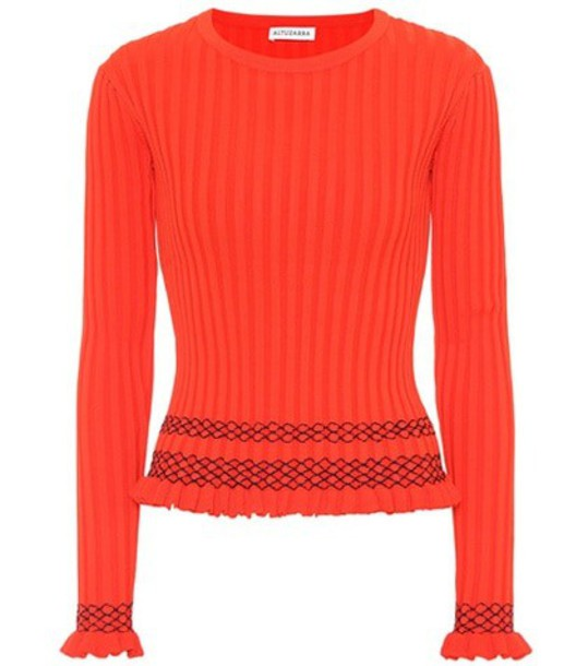 Altuzarra Malou embroidered ribbed-knit sweater in red