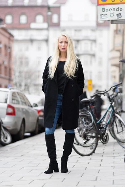 victoria tornegren blogger jeans black coat casual