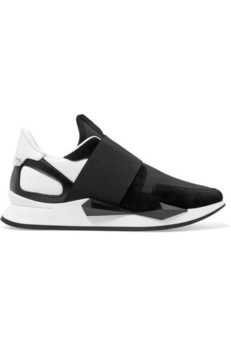 sneakers leather suede black neoprene shoes