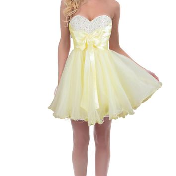 Faironly Girl's Yellow Short Prom Formal Dress on Wanelo