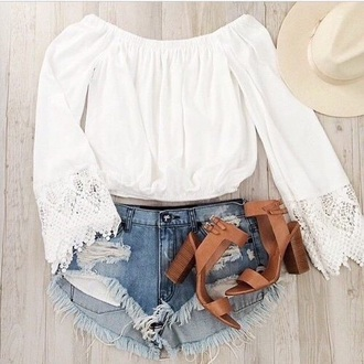 blouse white top white crop tops boho chic coachella shoes shorts bohemian indie boho bohostyle boho shoes boho sandals brown high heels brown white shirt love long sleeves cute beautiful jeans tumblr tumblr outfit tumblr girl tumblr clothes tumblr shirt tumblr shoes hat urban summer summer outfits warm col top fashion clothes lace lace top