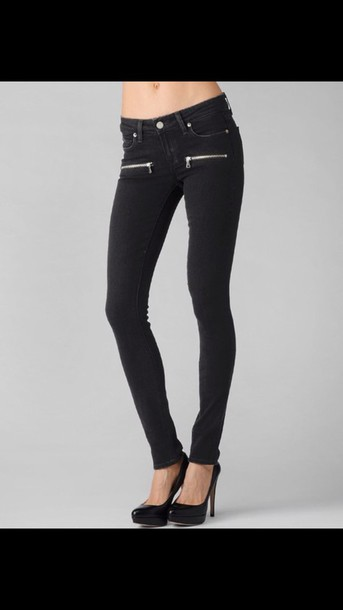 Jeans: black jeans, skinny jeans, zip, zipper pockets - Wheretoget