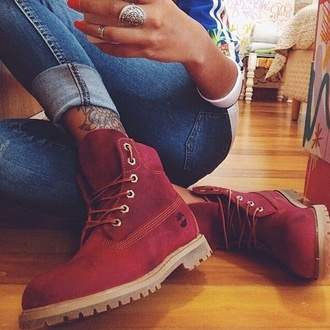shoes burgundy red timberlands custom timberlands red timberlands winter boots winter outfits