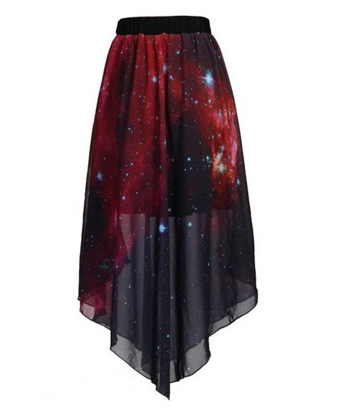 Wine Red Galaxy Chiffon Skirt – Deadly Divine