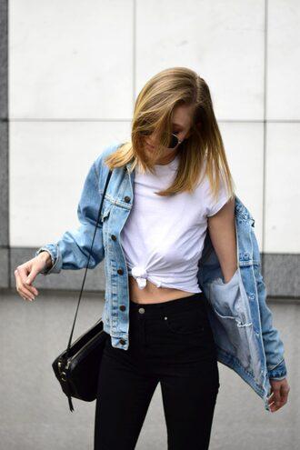 t-shirt tumblr white t-shirt jacket denim jacket denim jeans black jeans bag black bag