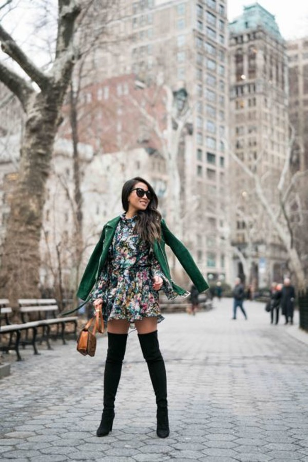wendy's lookbook blogger jacket dress shoes sunglasses jewels green jacket mini dress boots over the knee boots thigh high boots winter outfits