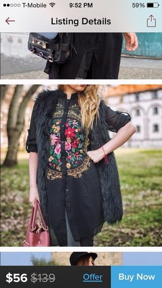blouse black chiffon vintage button down floral gold button down shirt