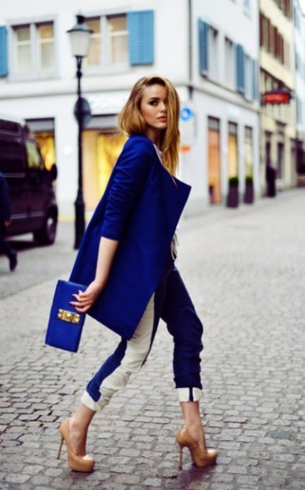 jeans royal blue fashion jacket bag shoes