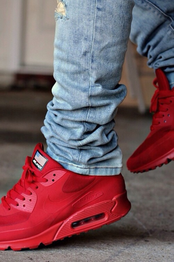 shoes red nike air max hyperfuse indipendence day
