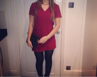 dress red dress v neck dress