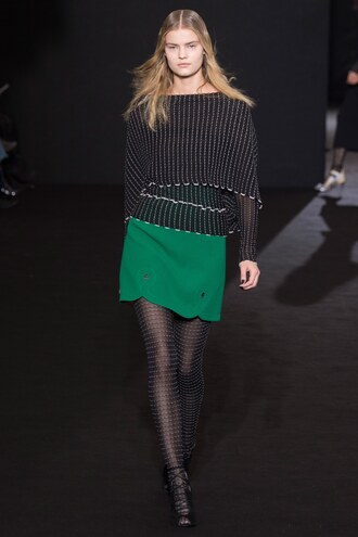 skirt knitted sweater fall outfits mini skirt roland mouret fashion week 2016 paris fashion week 2016 blouse top tights