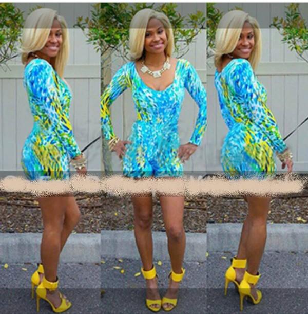 romper blue dress sexy fashion beautiful jumpsuit