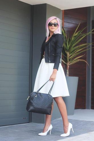 superficial girls blogger bag belt pastel hair white skirt black jacket white shoes stilettos
