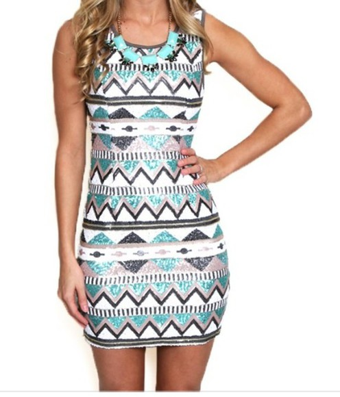 turquoise tribal pattern short party dress