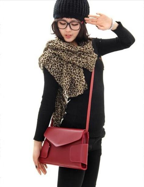 bag shoulder bag handbag wine red leather bag envelope clutch mixmoss.com