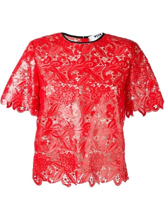 blouse short lace red top