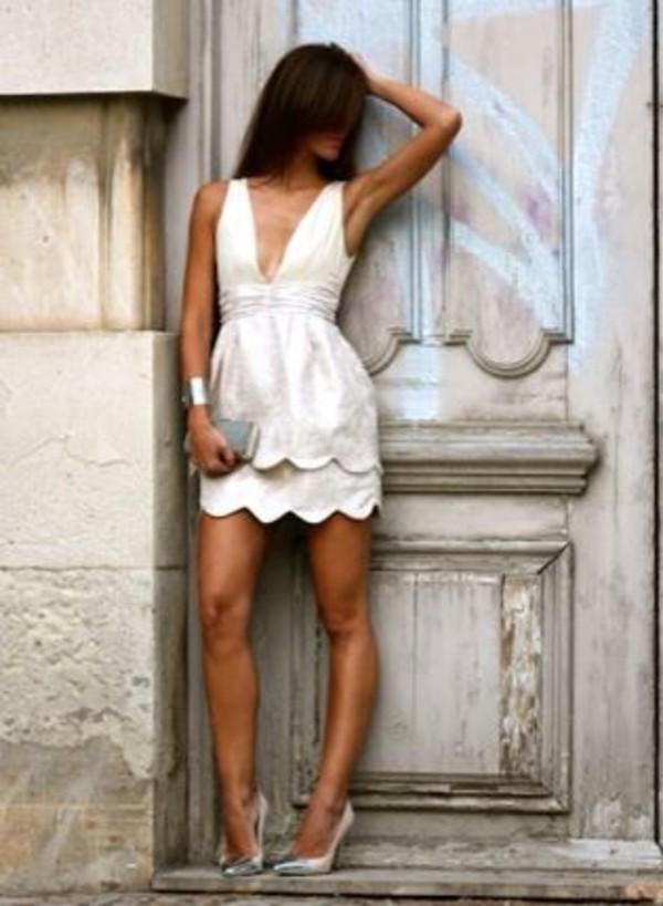 dress white dress v neck dress