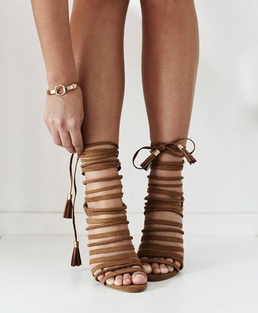 shoes, sandals, tie up sandals, heels
