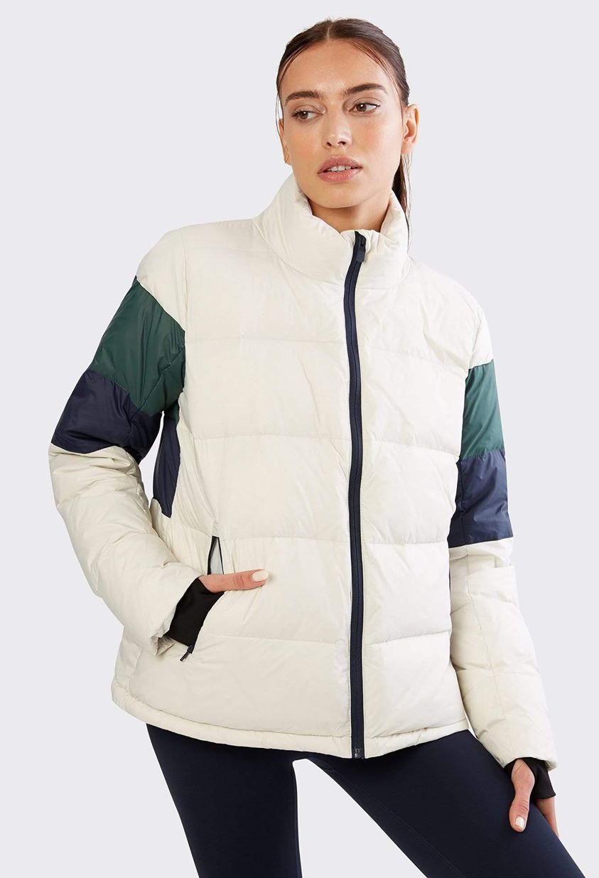 Isabel Puffer Jacket - Vintage White / Rugby Green Multi