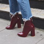 shoes,red,boots,dark red,heels,ankle boots