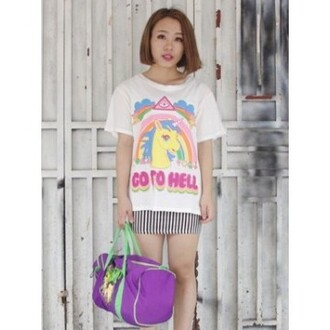 t-shirt top hipster pastel goth pastel grunge asian unicorn go to hell it girl shop tumblr soft grunge kawaii pastel