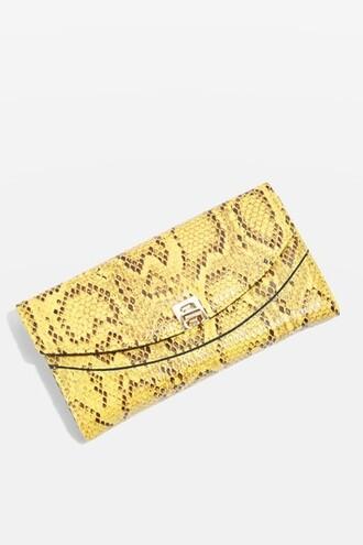 snake snake skin purse print yellow bag