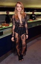cara delevingne,dress,see through dress,sheer,black,lace dress,long sleeve dress