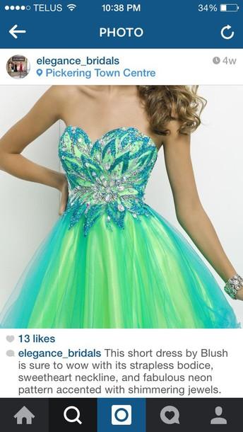 dress blue green strapless