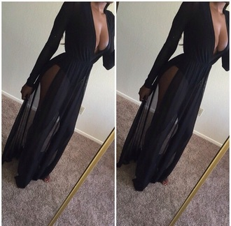 dress maxi dress maxi outfit fashion style black dress sheer
