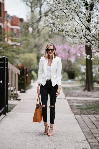 e6f04054bbc see jane blogger jacket belt jeans tank top blazer tote bag white blazer gucci  belt black