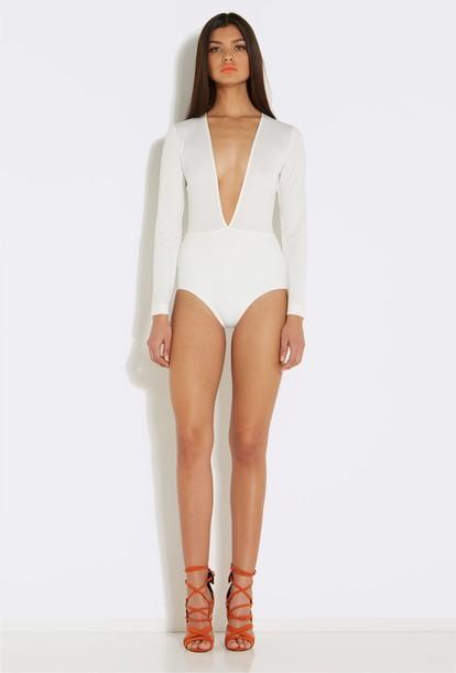 top white white top white bodysuit low cut too low cut top low cut bodysuit bodysuit white deep v bodysuit long sleeve bodysuit white long sleeve deep v neck bodysuit top