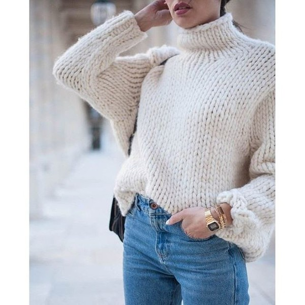 Sweater: knitted sweater, turtleneck sweater, tumblr ...
