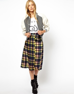 ASOS | ASOS Midi Kilt Skirt in Plaid Check Print at ASOS