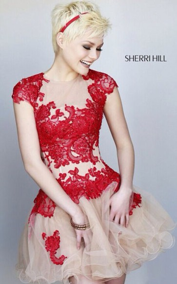 red lace nude red and nude mesh short dress sherri hill homecoming dress