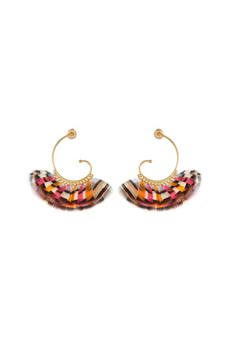 feathers earrings gold jewels