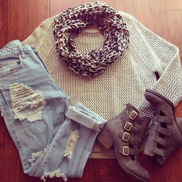 jeans boots booties top ripped jeans