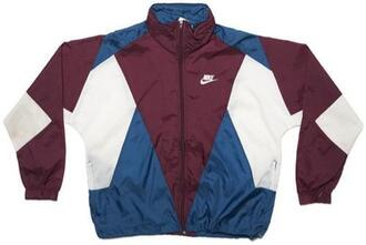 jacket nike windbreker coat nike 90s style retro windbreaker burgundy blue vintage white nike jacket colorblock nike windbreaker