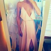 dress,fashion,prom dress,boho,cute dress,girly,maxi dress,white dress,spaghetti strap,v neck,sexy,nude,nude dress,sexy dress,white,long dress,cream,style,prom,grad,legslit,pink,v neck dress,formal dress,long prom dress,prom gown,a line plunging v neck prom dresses