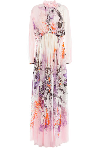 gown silk multicolor dress