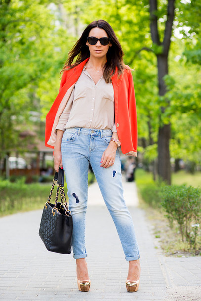 cashmere in style jacket blouse jeans shoes bag sunglasses