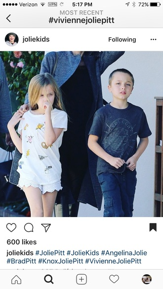 t-shirt vivienne jolie-pitt white drawings