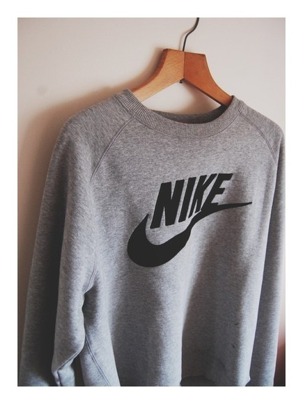 nike jacket hoodie sweater grey sweatshirt black crewneck