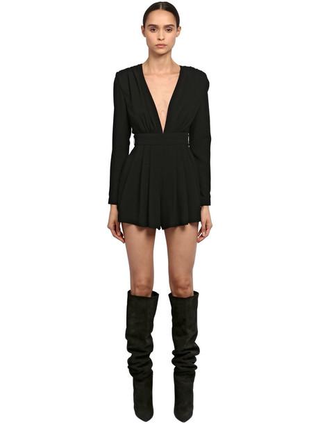 SAINT LAURENT V Neckline Sablè Jumpsuit in black