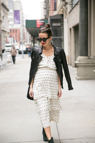 something navy blogger dress shoes jacket sunglasses jewels bag leather jacket ankle boots white dress polka dots dress